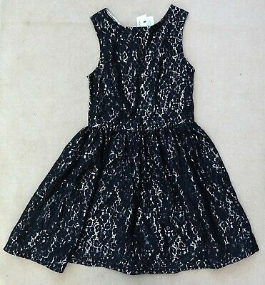 MARKS & SPENCER Kids Girls Black Lace Silver Back Sleeveless Dress 13-14 Years