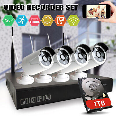 720P 4CH WIFI NVR Security Outdoor CCTV Camera Kit  With 1TB IR Night vision