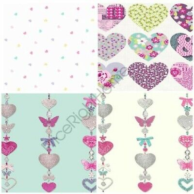Heart Themed Wallpaper Girls Bedroom Pink Various Designs Available New