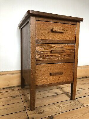 Vintage Mid Century Oak Bedside Table With Three Drawers 1950's