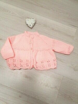 Hand Knitted Baby Girls Cardigan Jacket 0-3-6 Months Pink Matinee Handmade