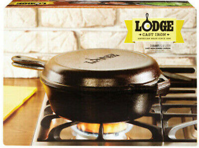 Lodge 3 Quart Cast Iron Combo Cooker. Pre-seasoned Cast Iron Skillet DUTCH OVEN