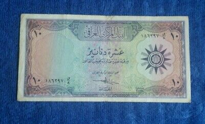Iraq 10 Dinars 1959  P-55 Circulated Banknote Vintage Old Note Bill Currency