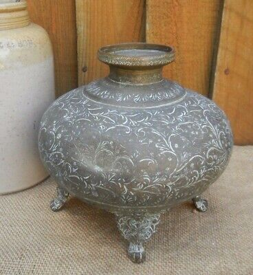 Antique Indian Middle Eastern Aged Brass Footed Temple Jar~Engraved Decoration