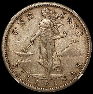 1907-S U.S. Philippines 1 One Peso Silver Coin - NGC AU 55 - KM# 172