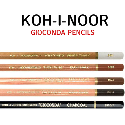 KOH I NOOR GIOCONDA Artist Pencils Charcoal White Sepia Russet Dark Drawing