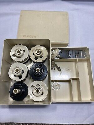VTG Lot Singer Sewing Machine Flexi Stitch Top Hat Cams Parts Box Ducks Disc I2