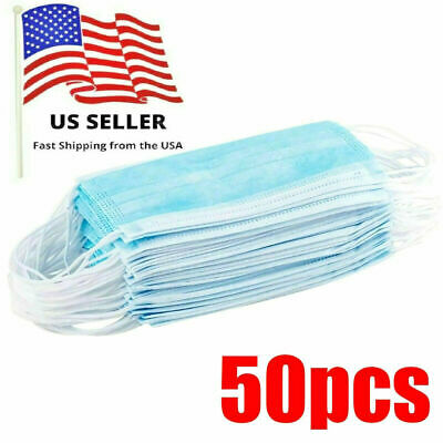50 PCS Disposable 3-Ply Face Mask Surgical Medical Dental Respirator Ear Loop