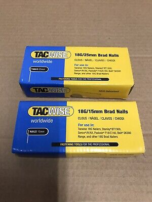 Tacwise 18G/15mm  18G/25mm Brad Nails 10000 boxed professional 2 boxes