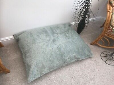 Beanbag floor cushion filled silver faux fur large 3cf size new