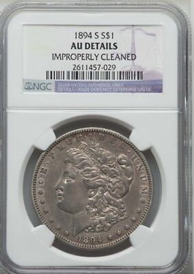 """U.s.  1894-S  Morgan Silver Dollar, Ngc Certified """"Almost Uncirculated Details"""""""