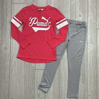 Puma Girls Size 7/8 Matching Outfit, Pink Long Sleeve Shirt & Gray Leggings