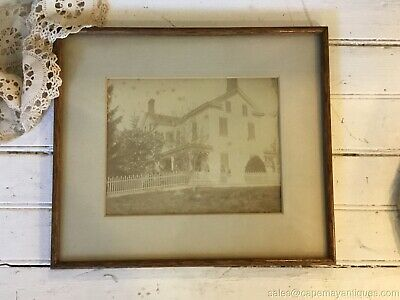 Antique Photograph Farmhouse Framed Old House Picket Fence Framed Victorian