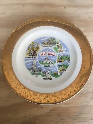 """Vintage Illinois State Souvenir Collectible Plate 10"""" With 1"""" Gold Trim"""