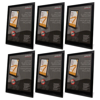 6pk Deflecto Clear Acrylic Sign Holder 8.5x11 Office Desk Display Picture Stand