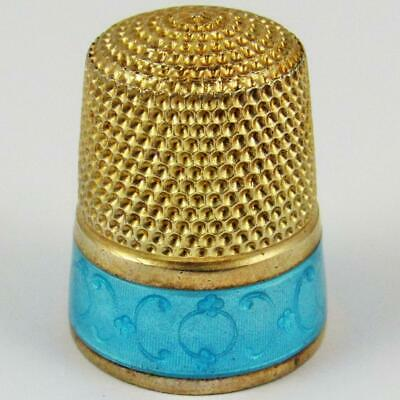 Antique Simons Brothers Size 11 Guilloche Enamel Gilded Sterling Silver Thimble