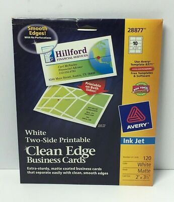 Avery White Two-Side Printable Clean Edge Business Cards Ink Jet 120Ct