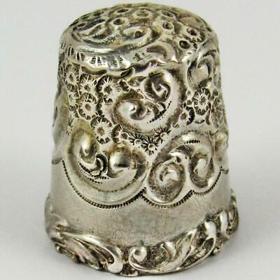 Antique Simons Brothers Pinwheel Scroll Size 12 Sterling Silver Sewing Thimble