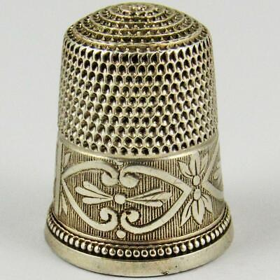 Antique Simons Brothers Edwardian Beaded Size 10 Sterling Silver Sewing Thimble