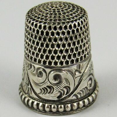 Antique Simons Brothers Engraved Scroll Beaded Size 8 Sterling Silver Thimble