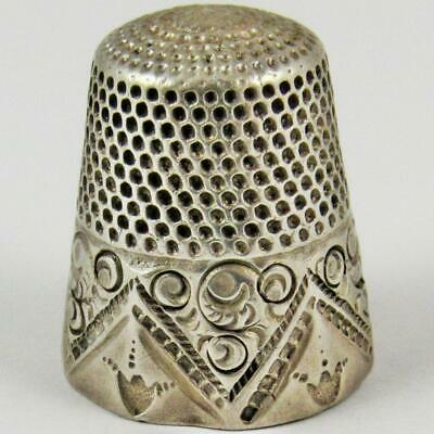 Antique Letter B Maker's Mark Geometric Size 8 Sterling Silver Sewing Thimble
