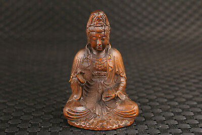 Chinese old boxwood hand carved kwan-yin buddha statue netsuke part flaw