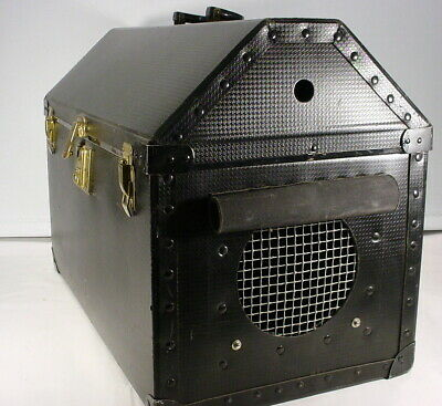 VTG Small Pet Cat Puppy Travel Carrier Crate Kennel Black W/ Eagle Lock & Key