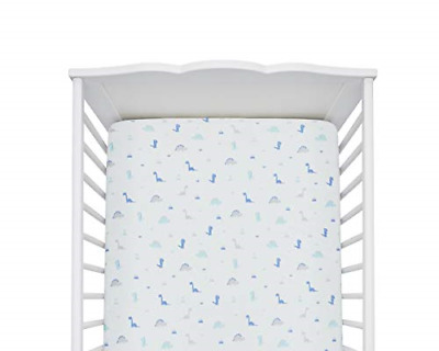 Baby Crib Fitted Sheets Extra Soft Hypoallergenic Organic Cotton Blue Dinosaurs