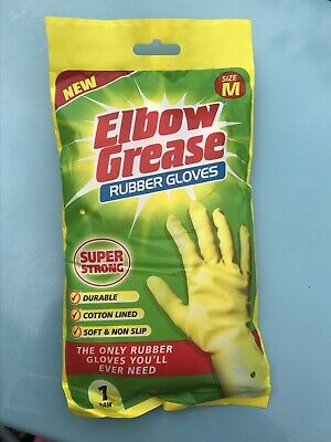 New Elbow Grease Rubber Gloves Super Strong Size M IDEAL Durable Non SLIP