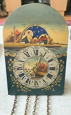 Dutch Clock Dial Hand Painted Moon Phase Hermle 1975 Movement Wieghts Pendulum