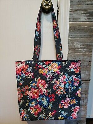 Vera Bradley Iconic Tote Bag PRETTY POSIES Quilted Floral Large Sz 15x13 NWT!