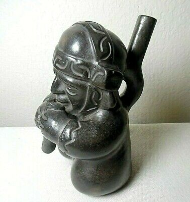 Vintage Hand Crafted Aztec Mayan Clay God Playing The Flute Incense Burner