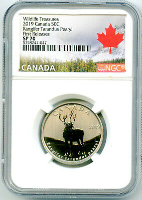 2019 Canada 50 Cent Peary Caribou Reindeer Ngc Sp70 First Releases Half Dollar
