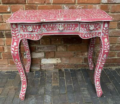 Dressing Table / Desk / Console - Pink inlaid Hand Carved Mother of Pearl