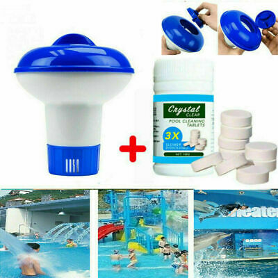 UK Pool Cleaning(100Tablets) & Floating Chlorine Tub Chemical Dispenser Cleaner