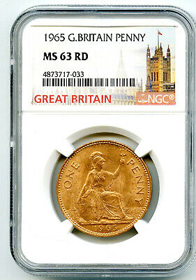 1965 Great Britain Britannia Large Copper Penny Ngc Ms63 Rd Low Mintage