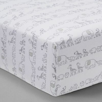 Two by Two Animals White Gray Fitted Crib Sheet by Cloud Island