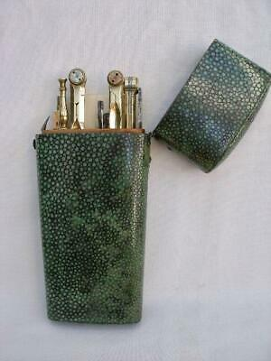 """Superb & Large 18th Century Shagreen Etui With Drawing Instruments. """"Boyce"""""""