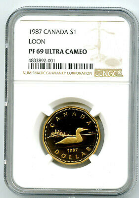 1987 $1 Canada Loonie Ngc Pf69 Loon Dollar Proof Extremely Rare Cert 001