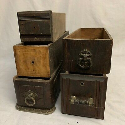 5 MISC VTG ANTIQUE TREADLE SEWING MACHINE WOODEN DRAWERS Singer White Primitive