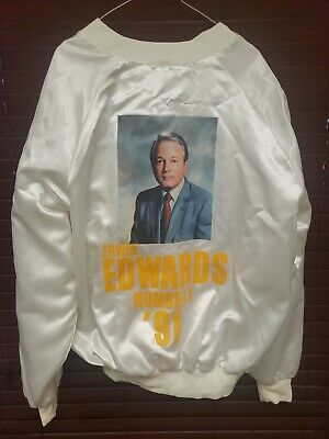 Louisiana Governor Edwin Edwards Number 1 In '91 Used White Vintage Campaign...