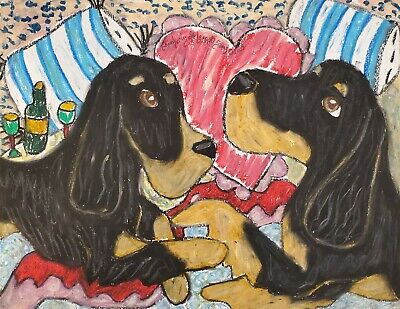 Gordon Setter Romance 11 x 14 Collectible Dog Art Print Artist KSams Valentines