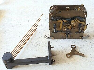 Haller Westminster Clock Movement Mantel Shelf Original Hands Key & Rods