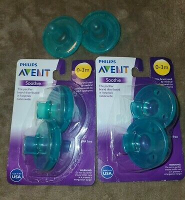 Lot of 6 Phillips Avent Soothie Pacifier 0-3 Months Green
