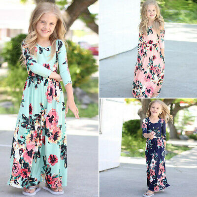 Kids Girls Floral Long Maxi Dress Long Sleeve Round Neck Beach Casual Clothes
