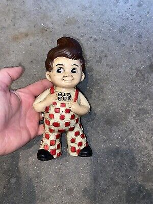 Big Boy Cast Iron Piggy Bank Toy Checkered Suspenders Solid Metal Patina Paint