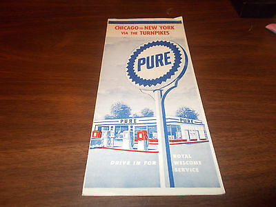 1956 Pure Oil Chicago to New York via Turnpikes Vintage Road Map