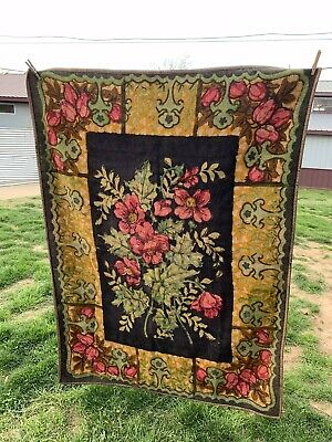 Antique/Vintage Black With Pink Roses Heavy Wool Buggy Blanket