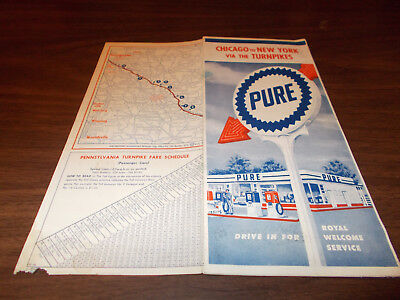 1959 Pure Oil Chicago to New York via Turnpikes Vintage Road Map