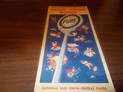 1952 Pure Oil Arkansas/Louisina/Mississippi Vintage Road Map